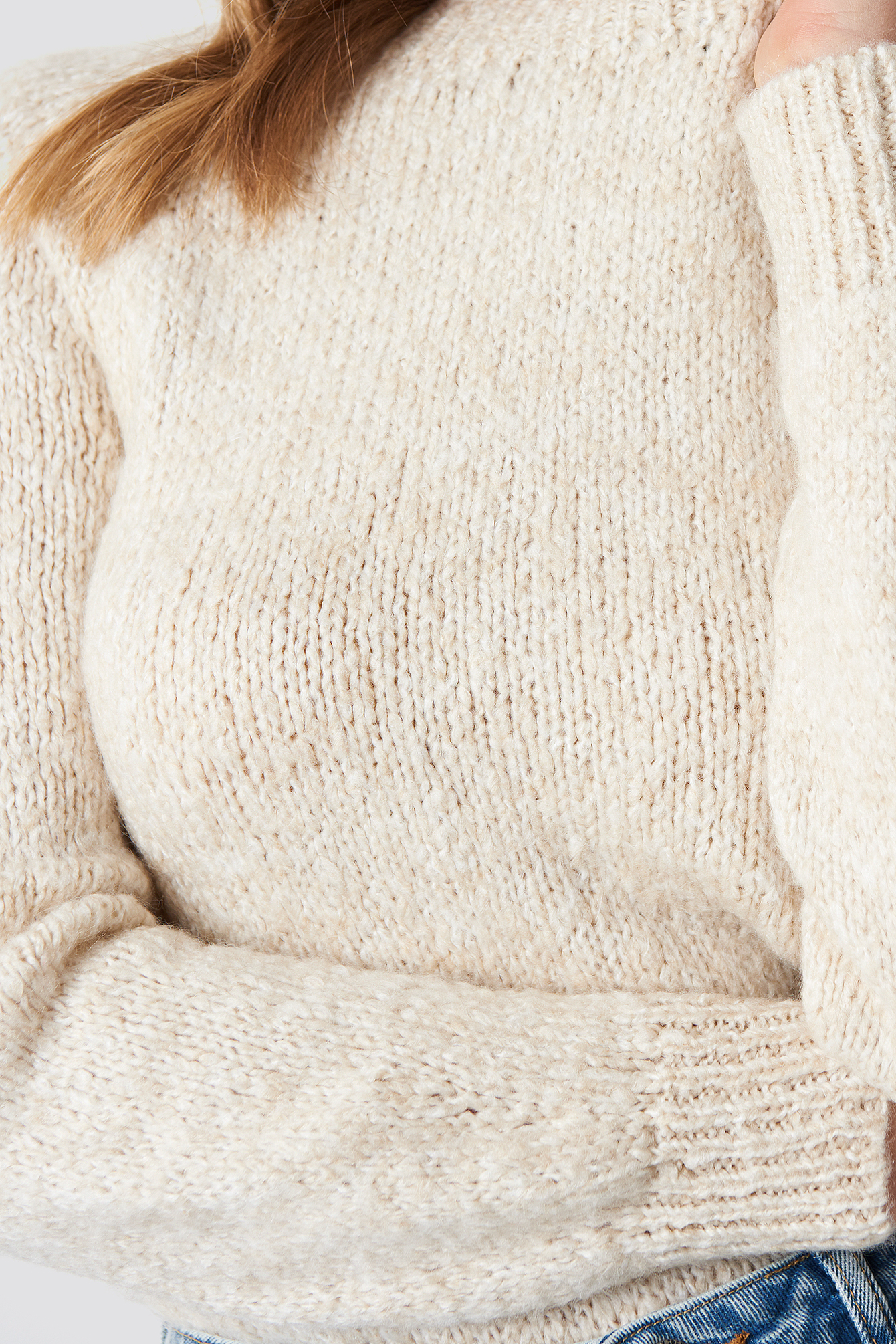 Stone Boucle Knitted Sweater
