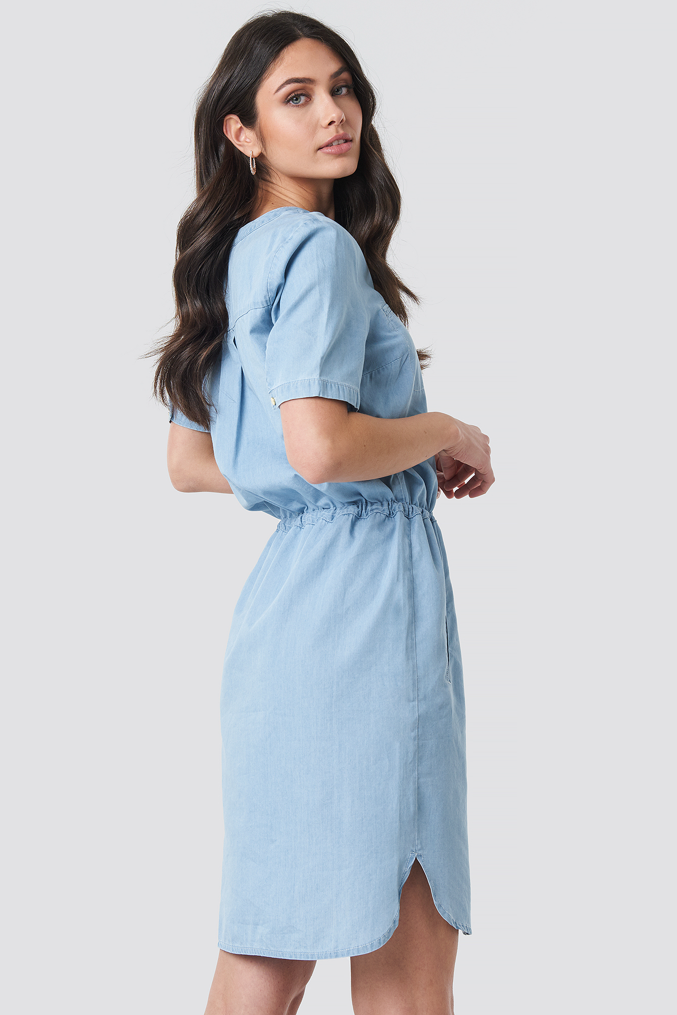 Bound Pocket Denim Dress NA-KD.COM