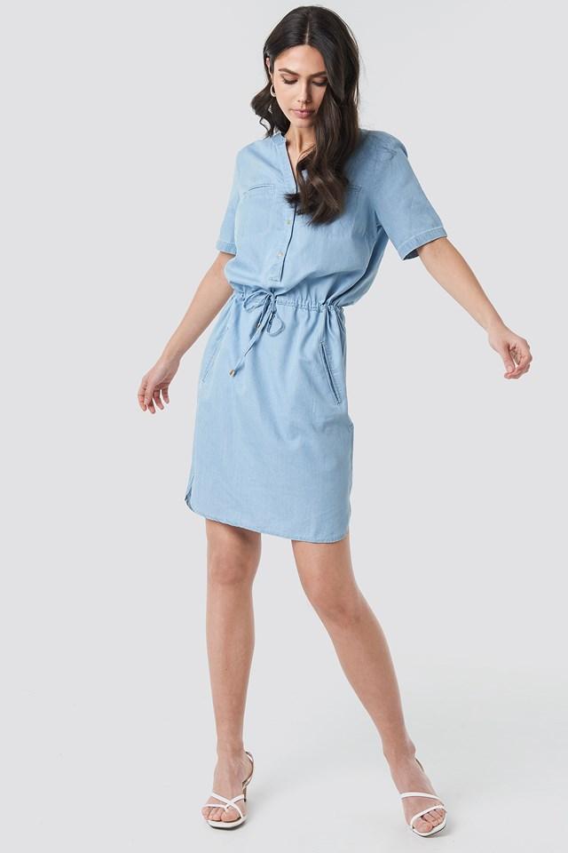 Bound Pocket Denim Dress Blue