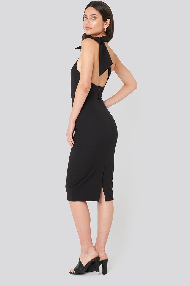 Bow Back Detailed Midi dress Black