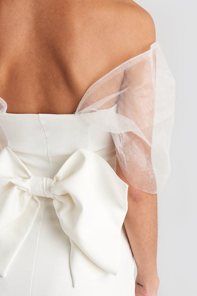 Bow Detailed Evening Dress Ecru