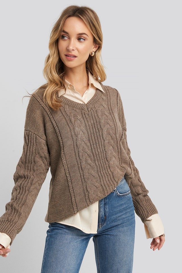 Braided Silvery Knitted Sweater Beige
