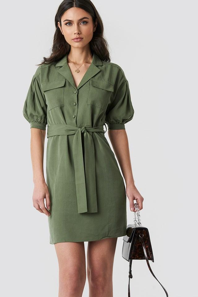 Breast Pocket Detailed Midi Dress Khaki