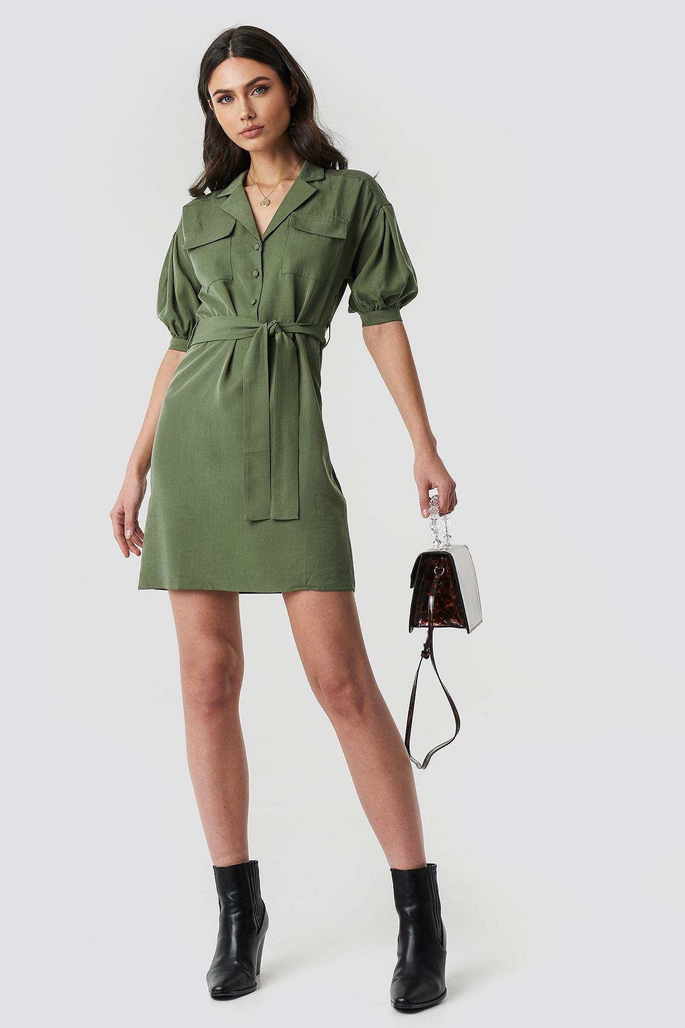 Breast Pocket Detailed Midi Dress NA-KD.COM