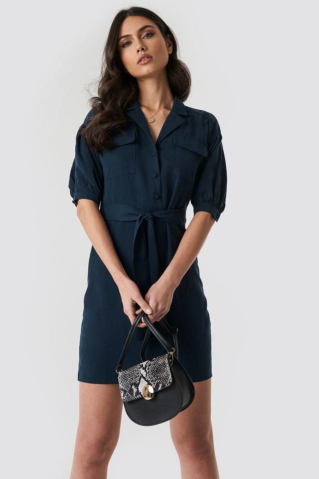 Breast Pocket Detailed Midi Dress Navy