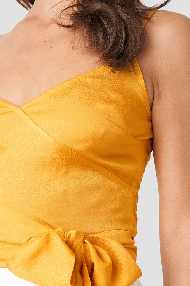 Breasted Binding Detailed Blouse Mustard