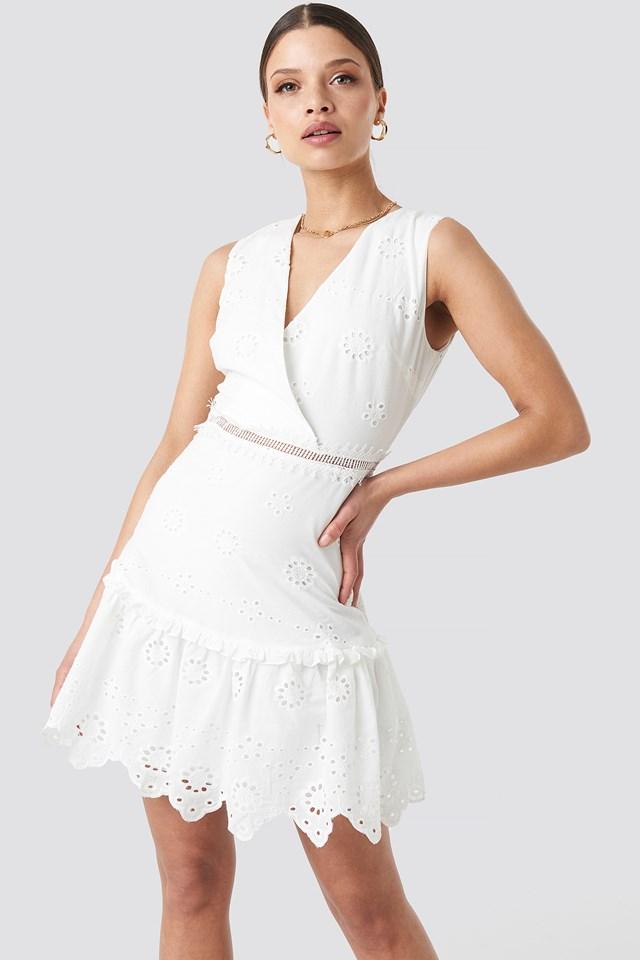 Brocade Mini Dress Ecru