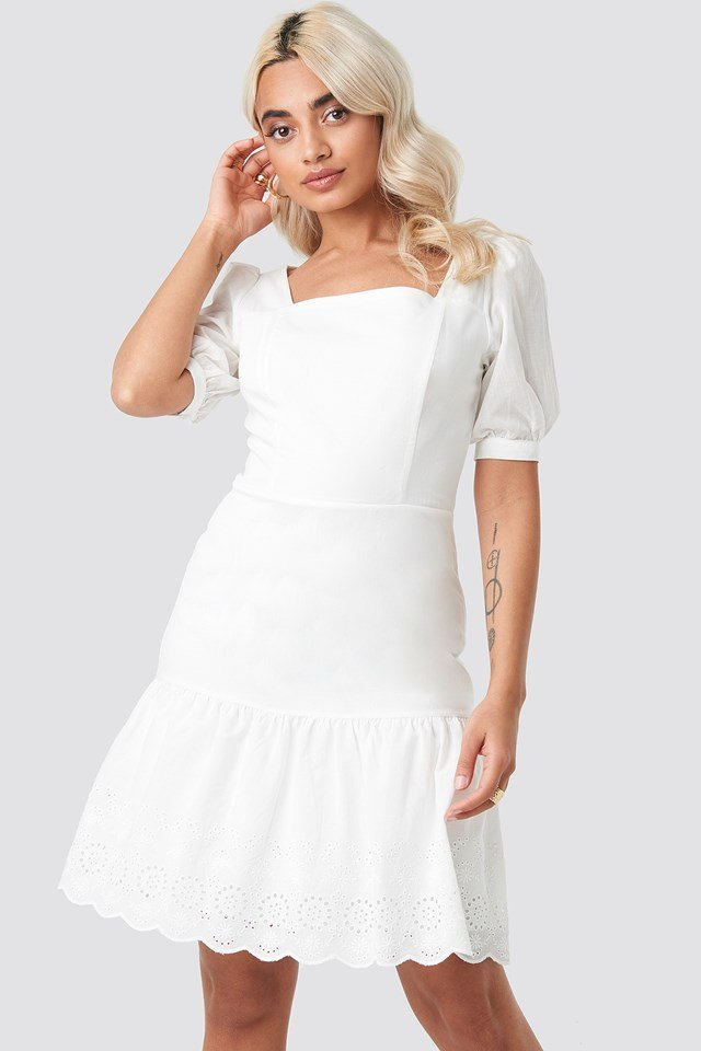 Brode Detailed Mini Dress White