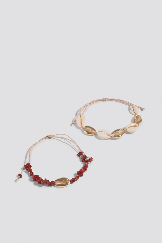 Broken Stone and Sea Shell 2-Piece Bracelet Red