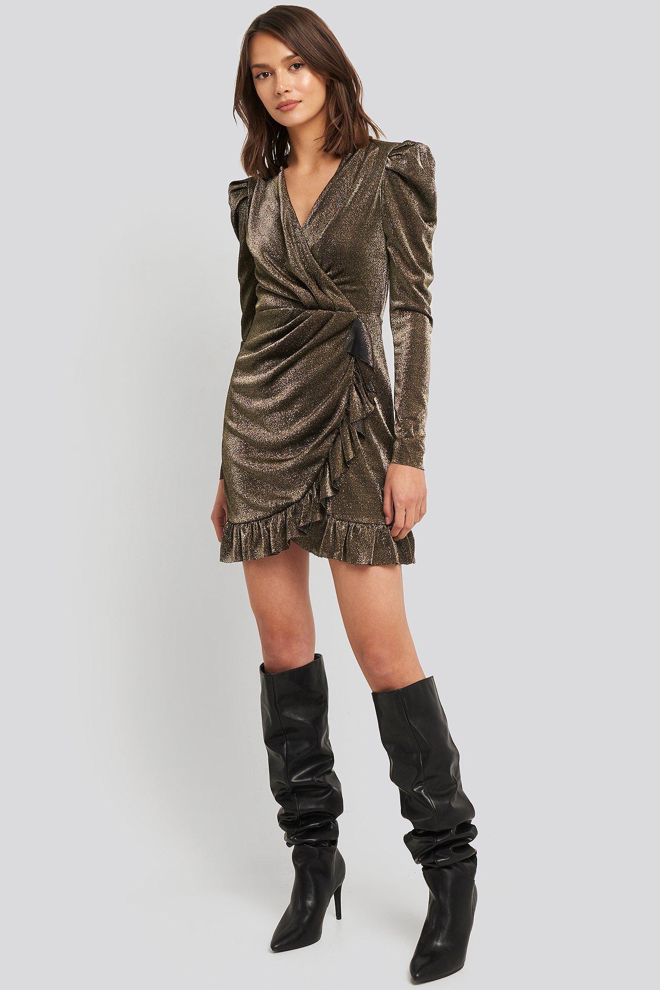 trendyol -  Bronze Flywheel Detailed Dress - Copper