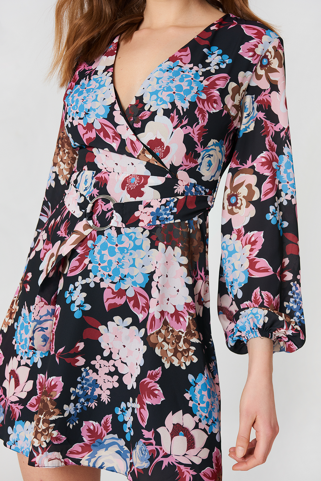 Buckle Detail Floral Dress NA-KD.COM