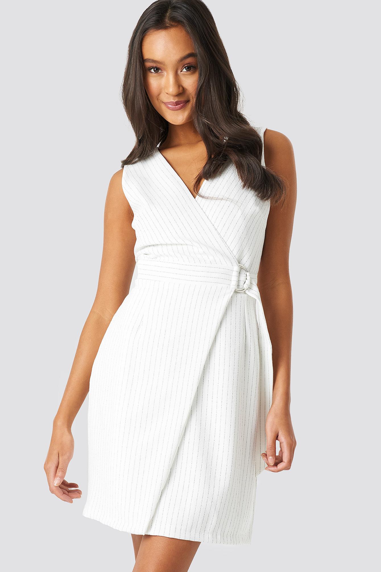 trendyol -  Buckle Detailed Dress - White