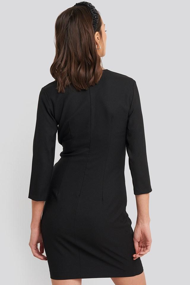 Buckle Detailed Mini Dress Black