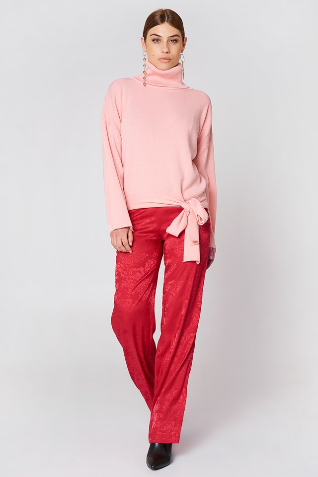 Bottom Tie Sweater Powder Pink