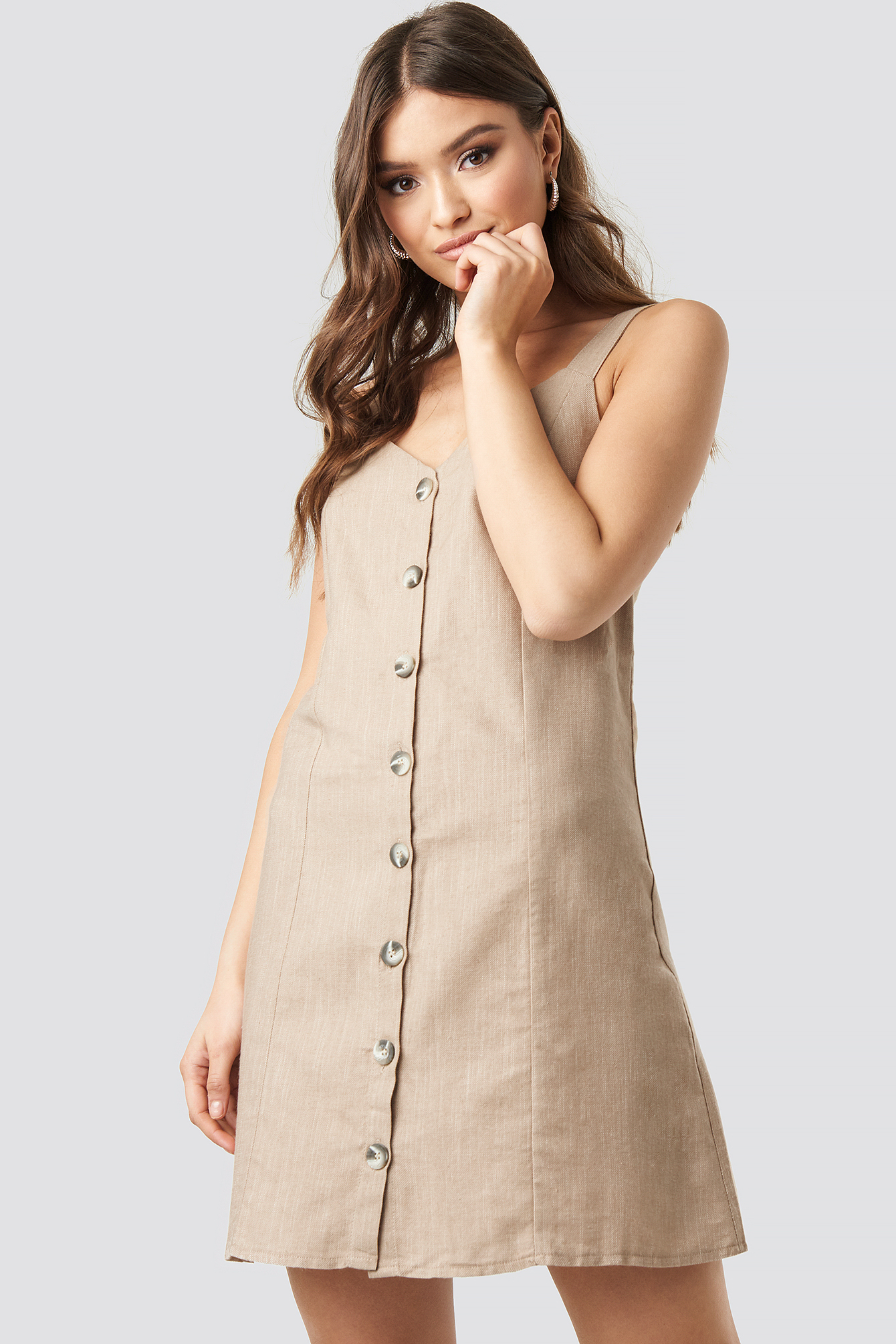 Button Detail Mini Dress NA-KD.COM