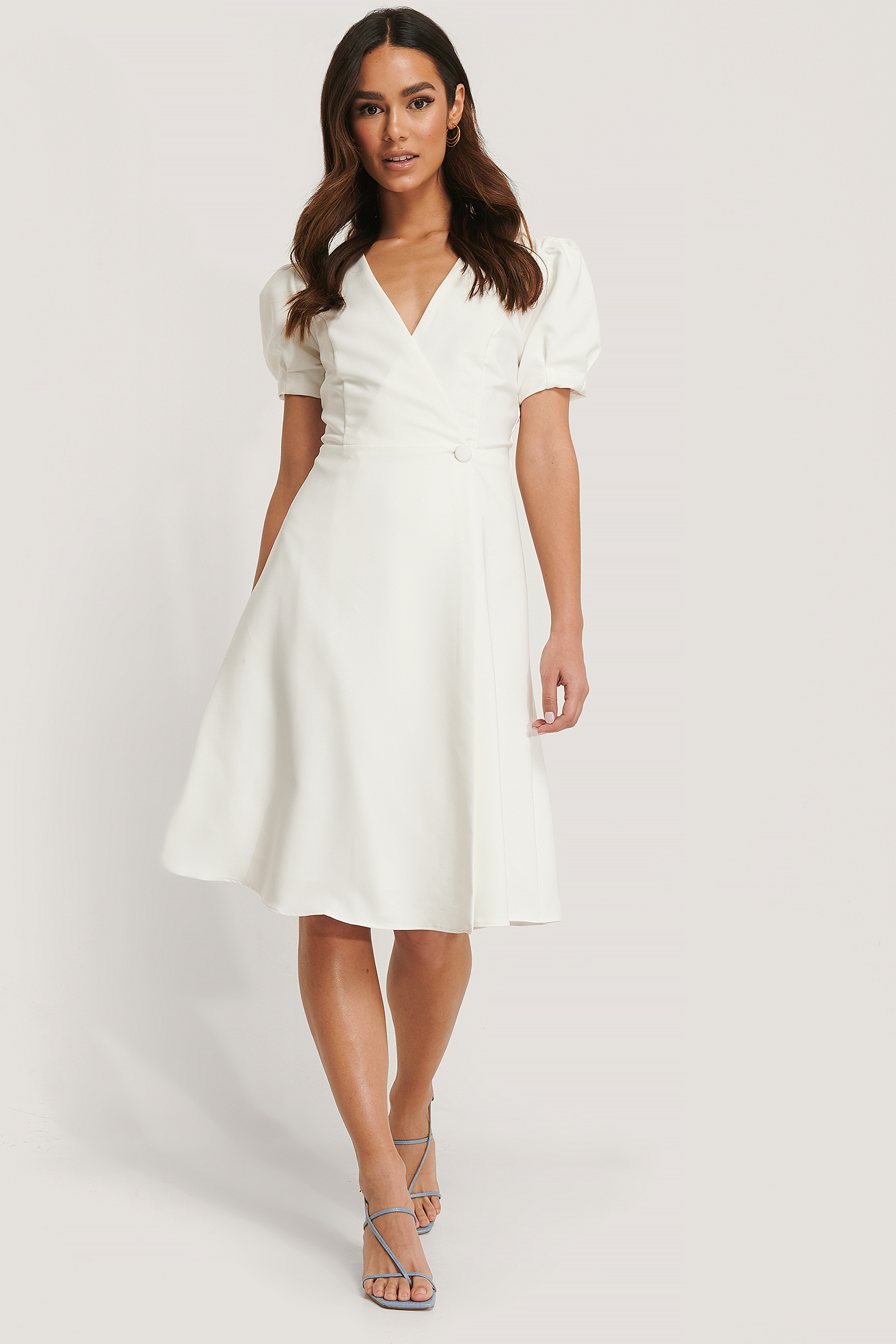 Trendyol Wickelkleid Midi Kurzarm - White | Bekleidung > Kleider > Wickelkleider | Trendyol