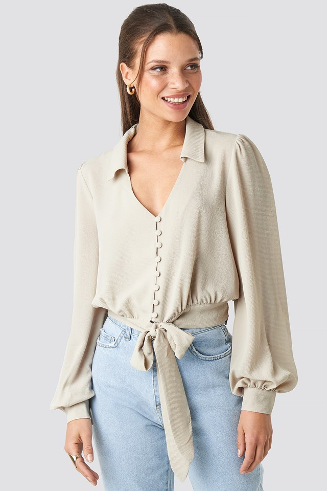 Button Detailed Binding Blouse NA-KD.COM