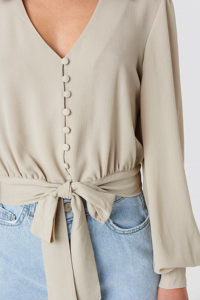 Button Detailed Binding Blouse Stone