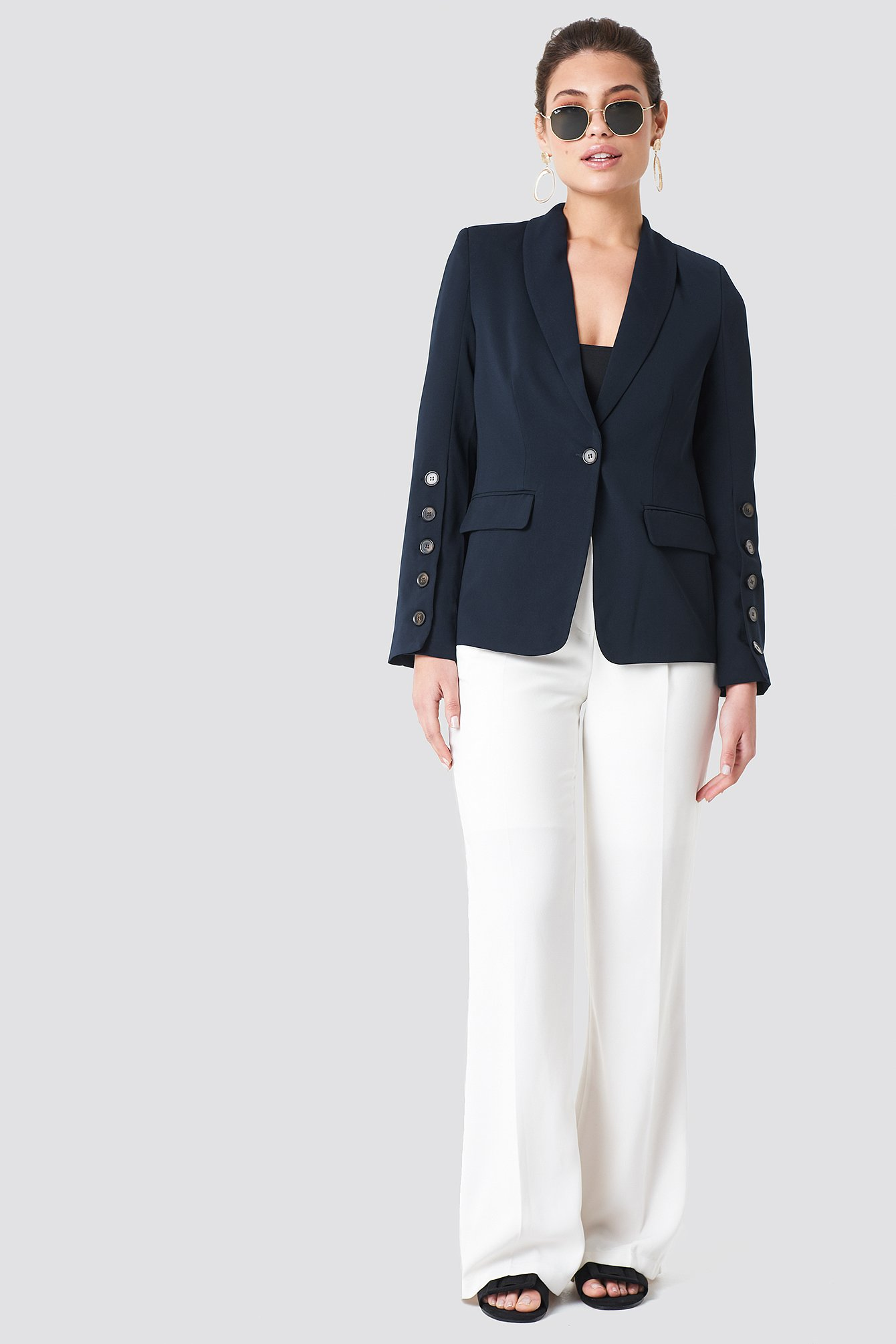 Navy Button Detailed Blazer