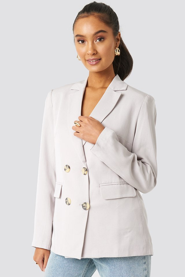 Button Detailed Blazer Jacket Stone