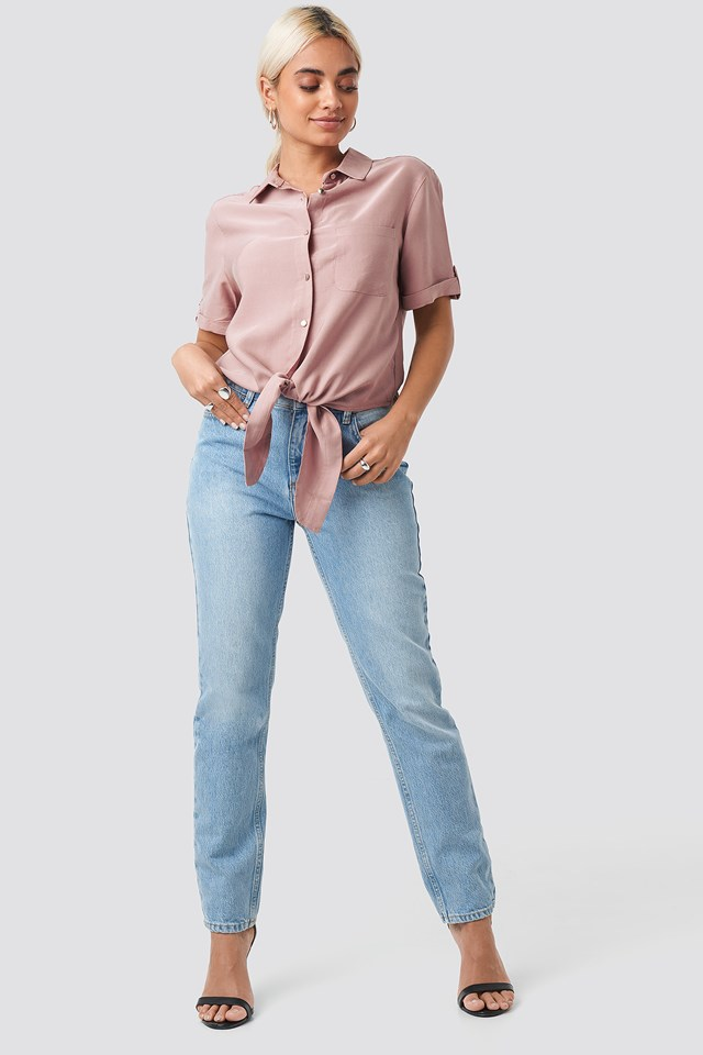 Button Detailed Blouse Pink