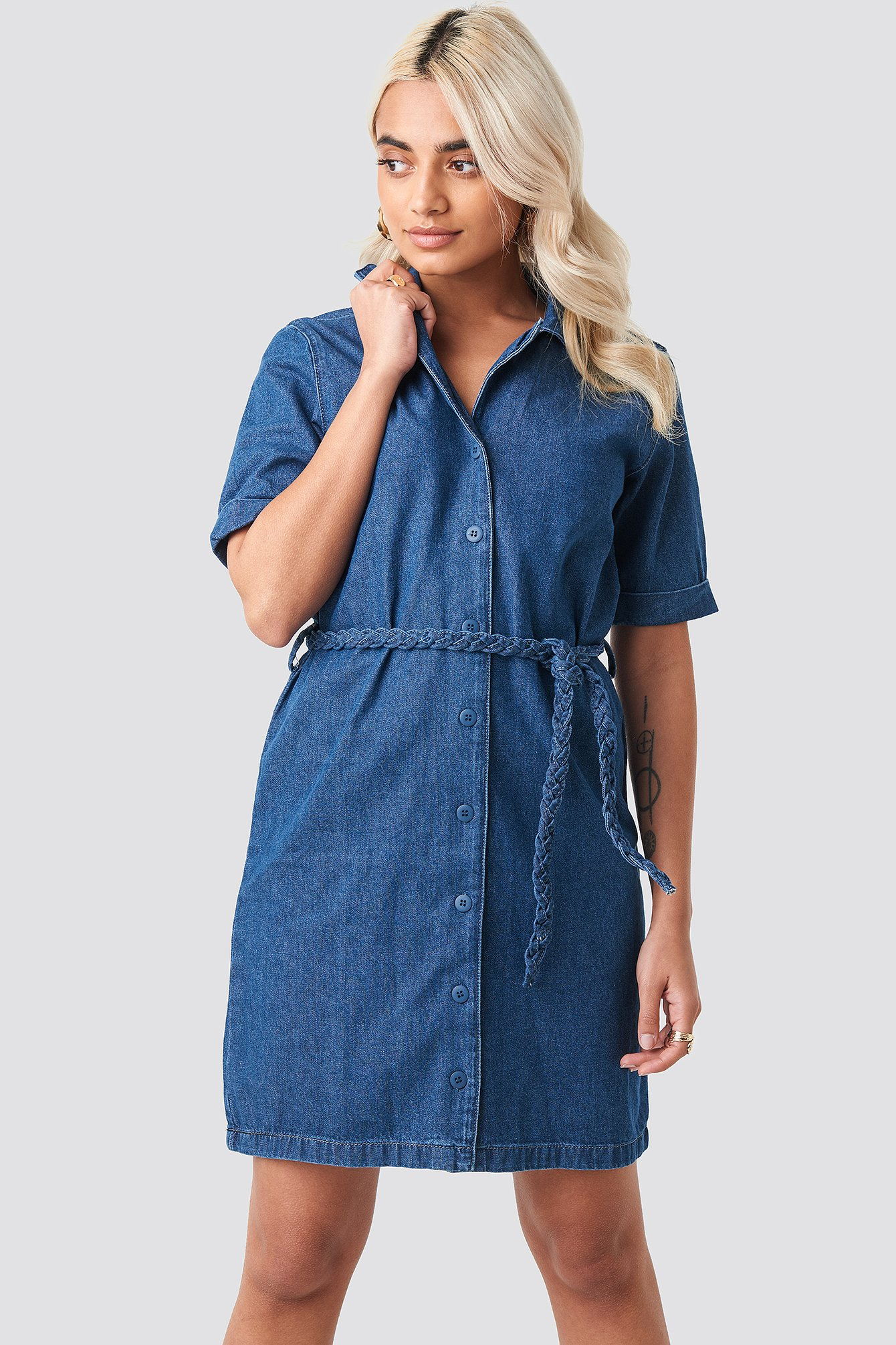 Button Detailed Denim Mini Dress NA-KD.COM