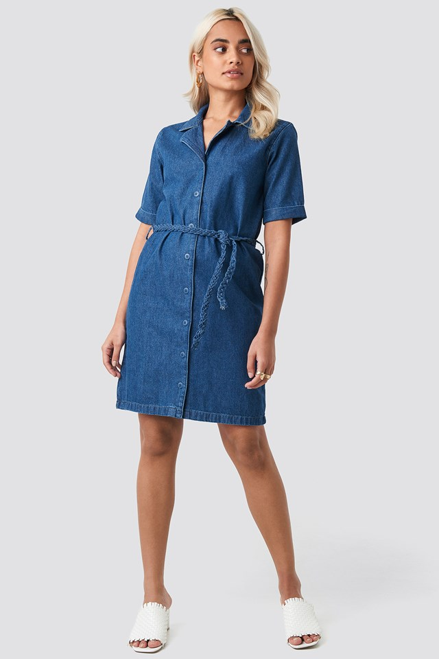 Button Detailed Denim Mini Dress Blue