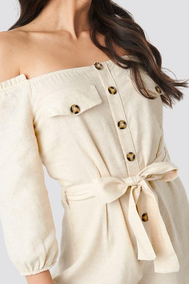 Button Detailed Jumpsuit Cream