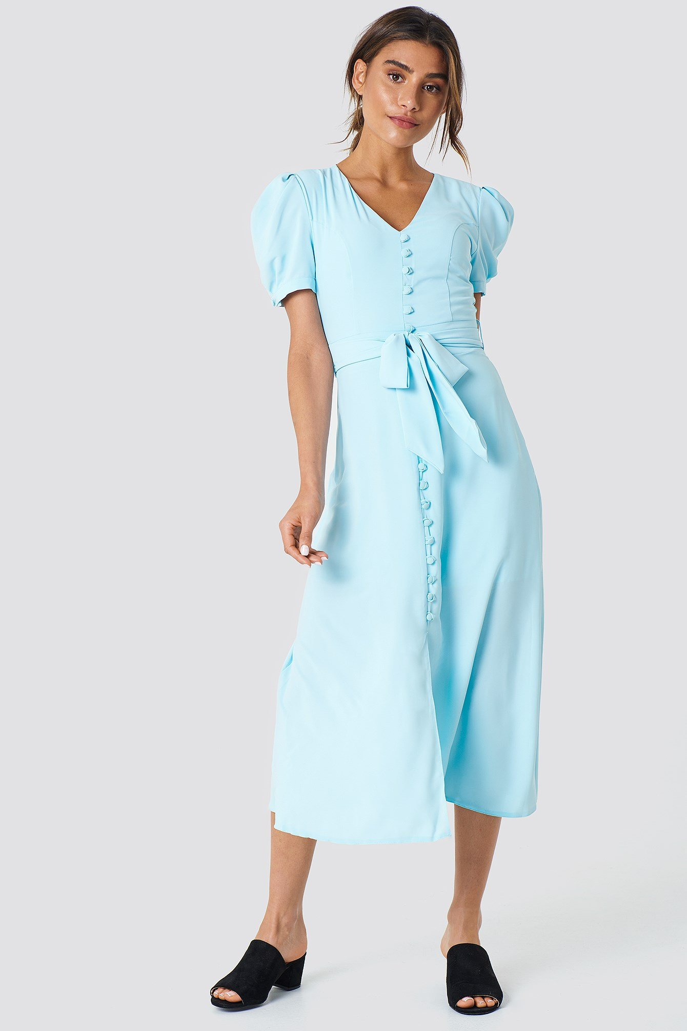 Button Detailed Midi Dress NA-KD.COM
