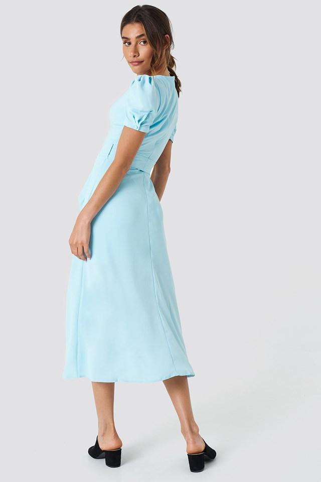 Button Detailed Midi Dress Blue
