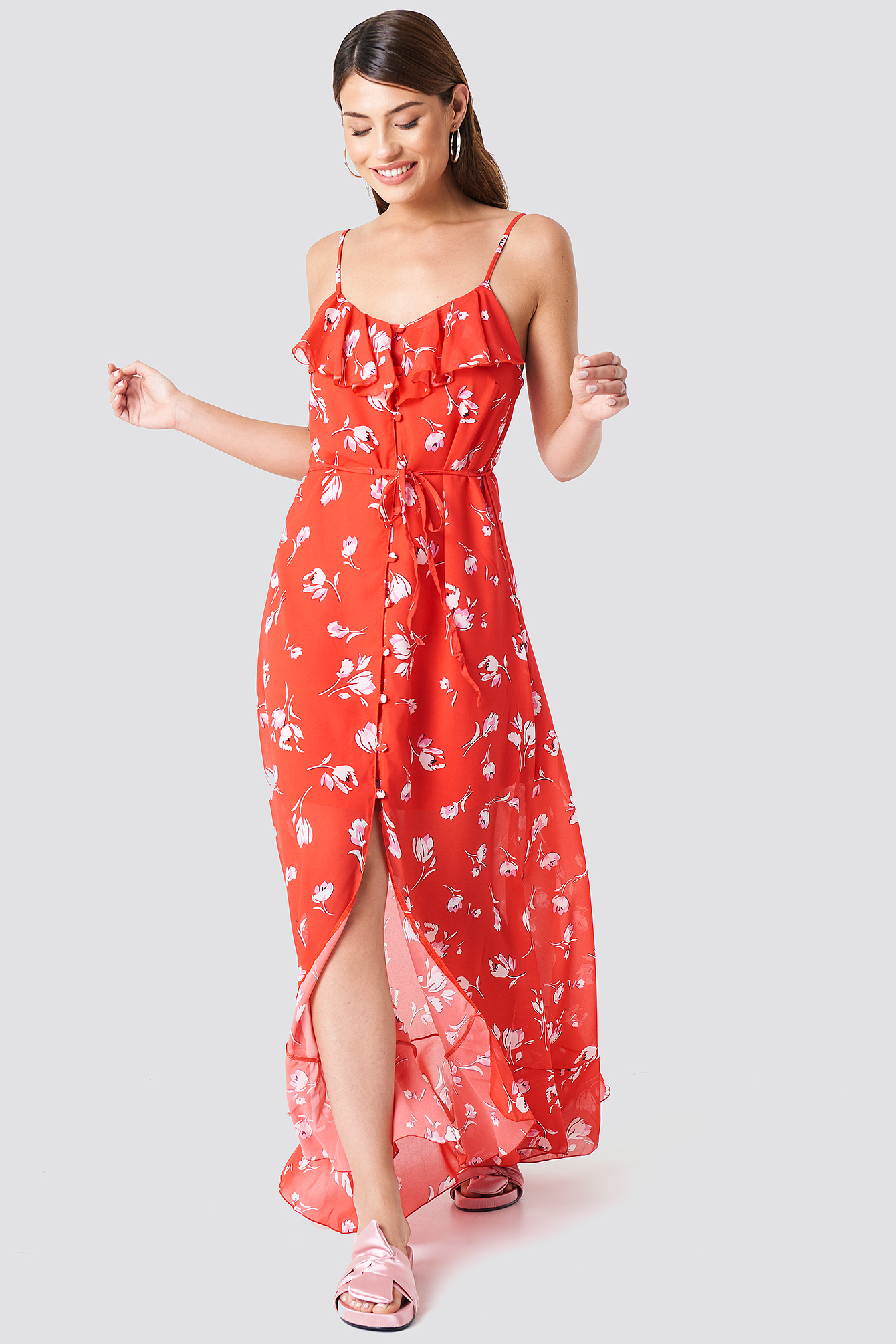 BUTTON DETAILED MIDI DRESS - RED