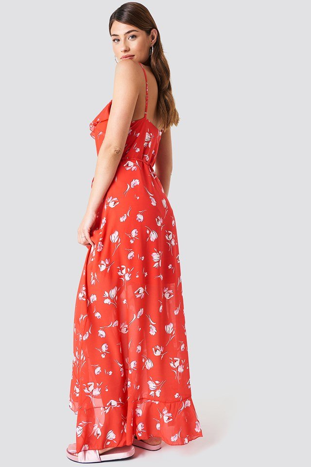 Button Detailed Midi Dress Red