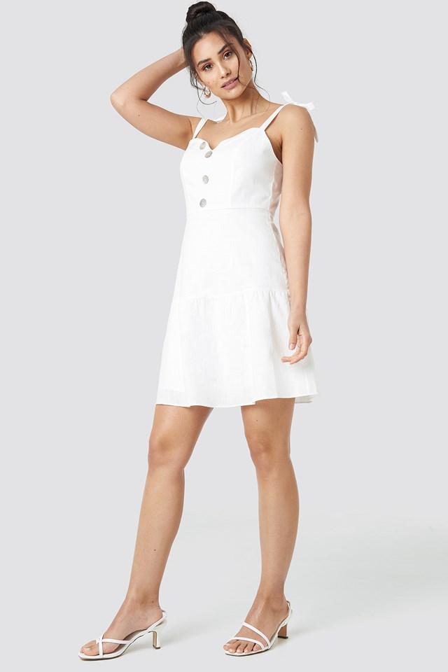 Button Detailed Mini Dress White