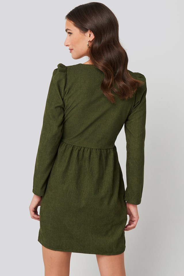 Button Detailed Mini Dress Khaki