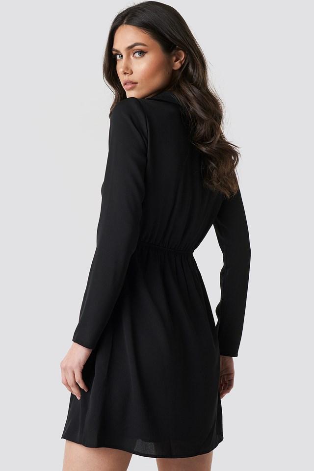 Button Detailed Mini Dress Black