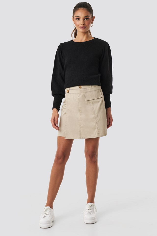 Button Detailed Mini Skirt Beige