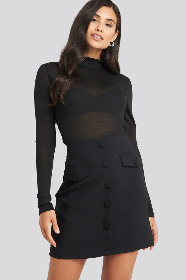 Button Detailed Mini Skirt Black