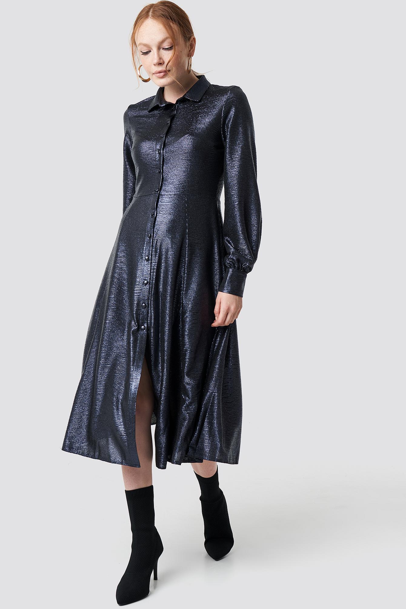 Button Detailed Shiny Dress NA-KD.COM