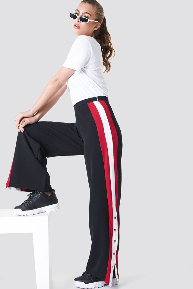 Button Detailed Stripe Pants Black
