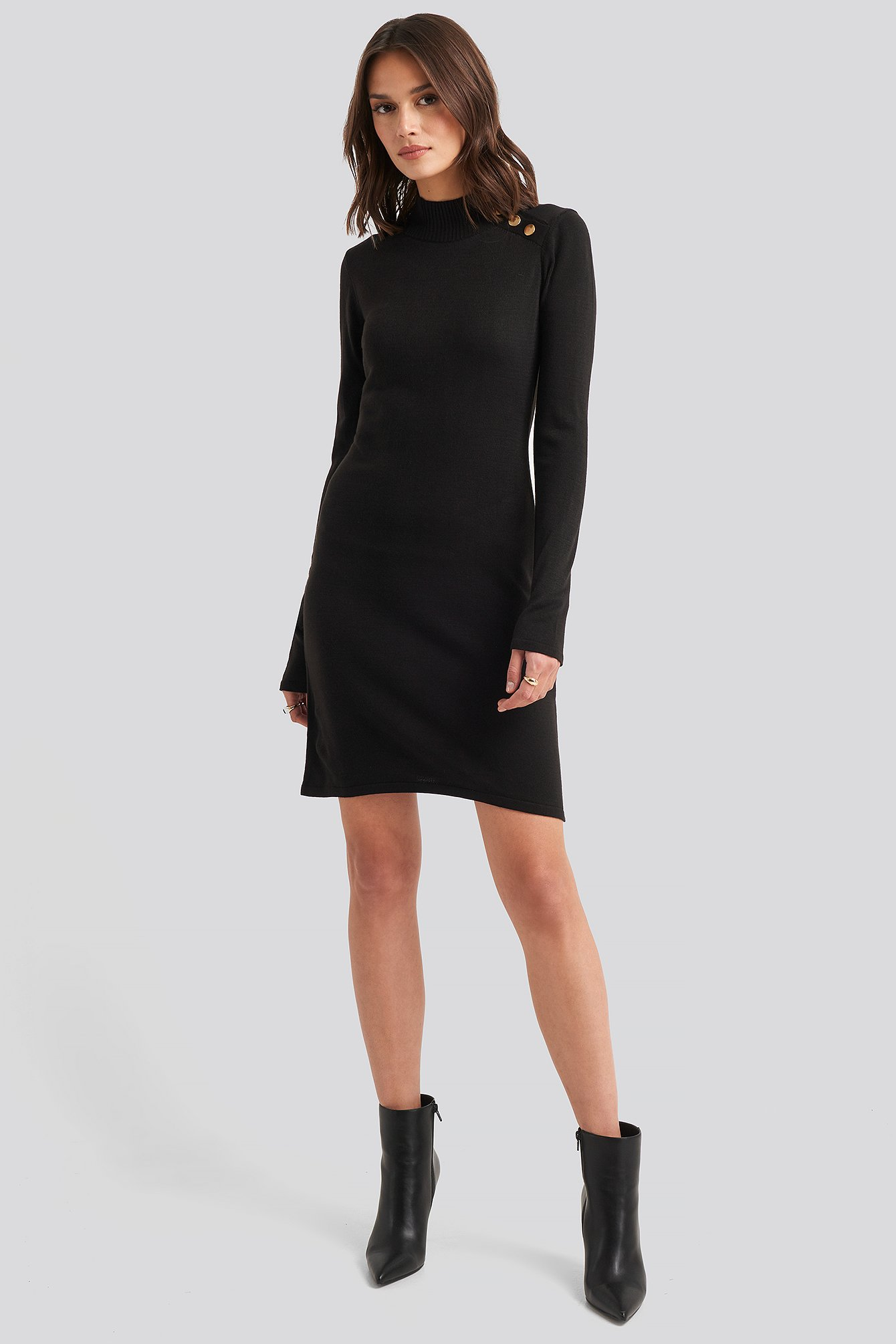 Button Detailed Sweater Dress Noir by Trendyol