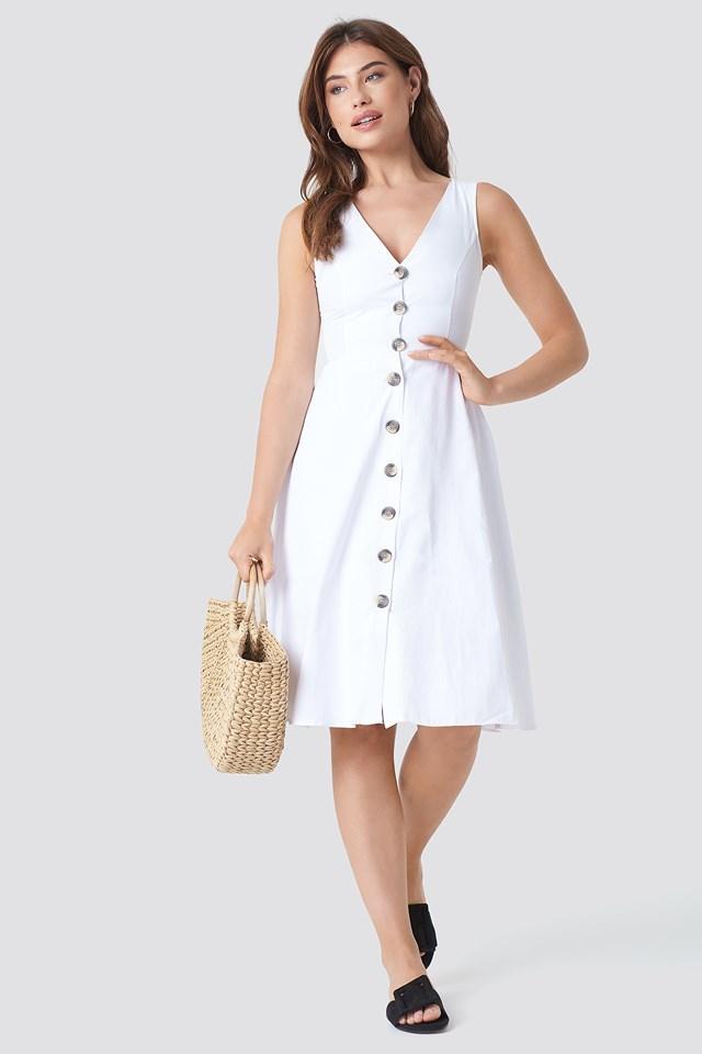 Button Detailed V-Neck Midi Dress White