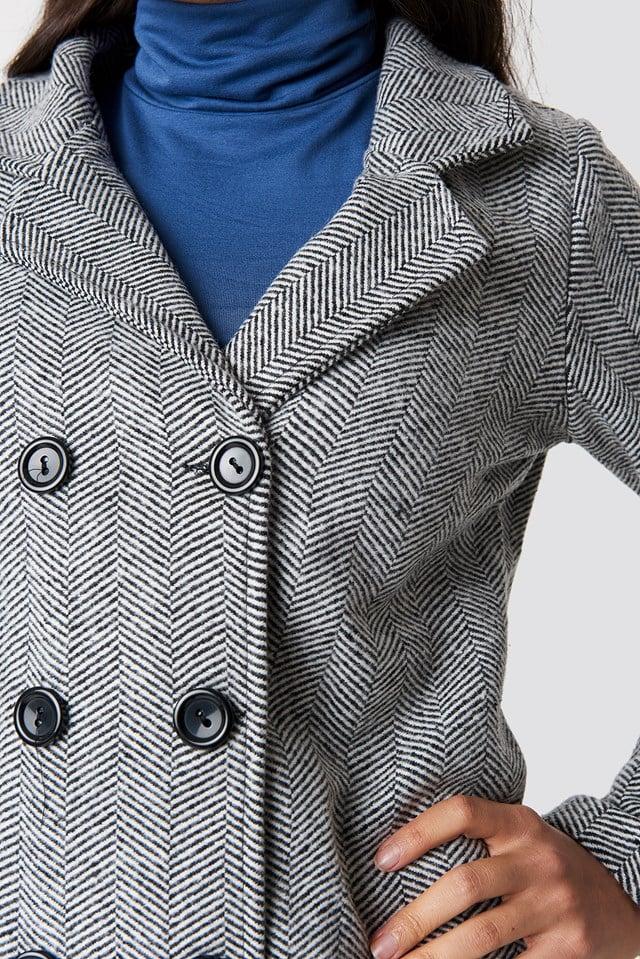 Button Detailed Coat Black