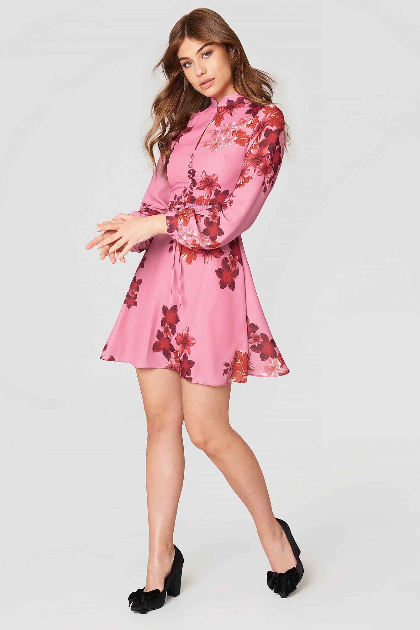 Button Front Floral Dress NA-KD.COM