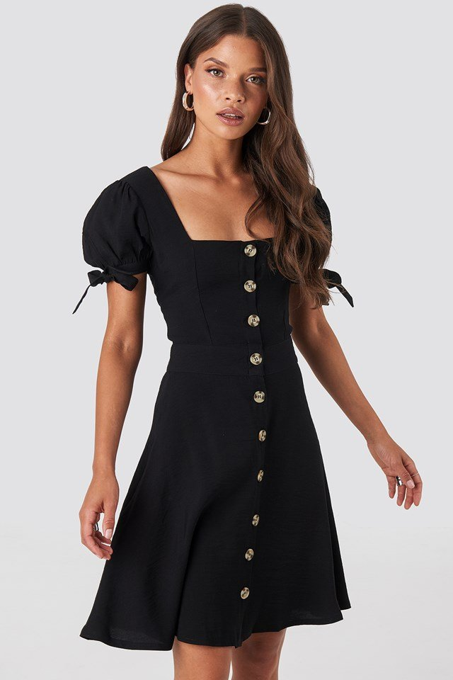 Front Button Knot Detailed Dress Black