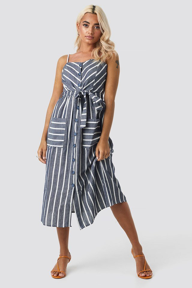 Button Linen Midi Dress Blue