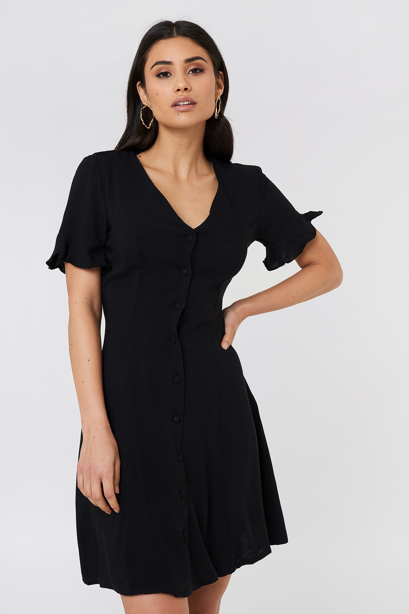 Black Button Midi Dress