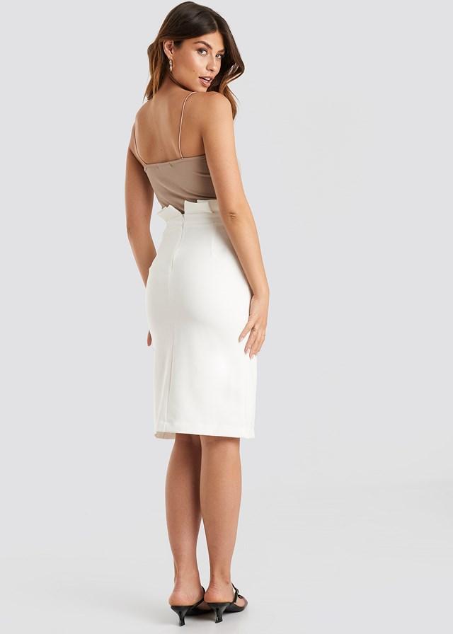 Button Midi Skirt White