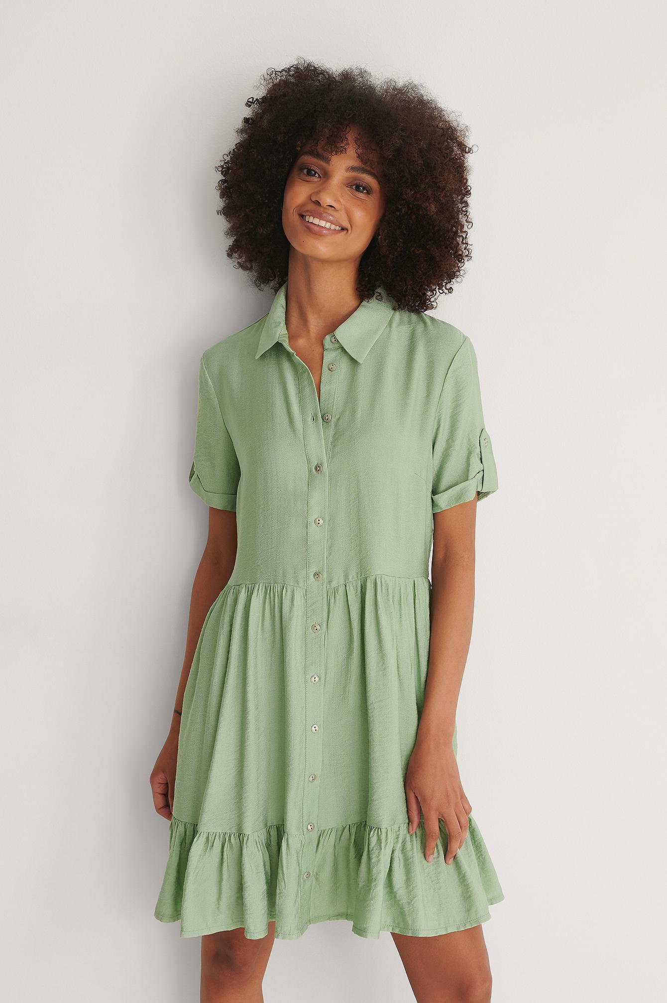 Trendyol Knapp Miniklänning - Green