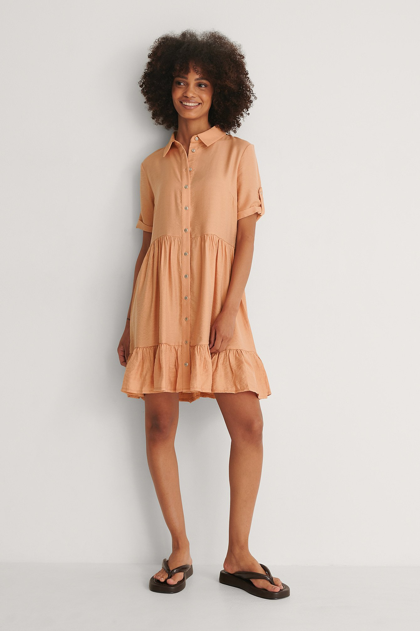 Trendyol Knapp Miniklänning - Orange