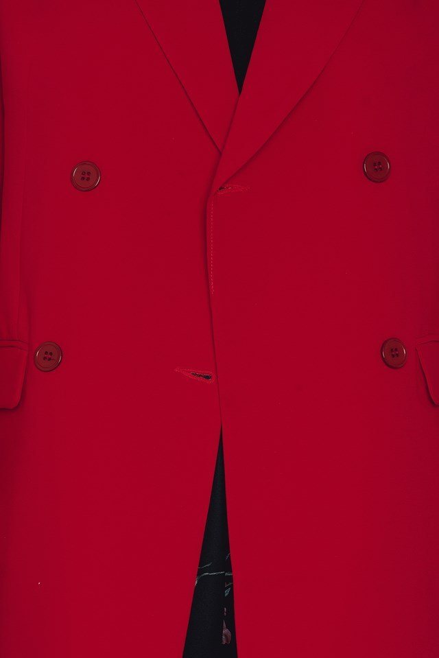 Button Oversize Coat Red